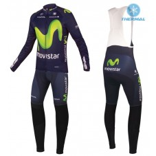 2016 Movistar Team Thermal Long Cycling Long Sleeve Jersey And Bib Pants Set