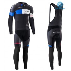 2016 Orbea Team Pro Black-Blue Thermal Long Cycling Long Sleeve Jersey And Bib Pants Set