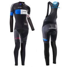 2016 Orbea Pro Women Black-Blue Thermal Long Cycling Long Sleeve Jersey And Bib Pants Set