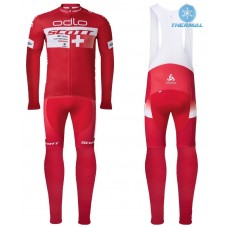 2016 Scott ODLO Team Red Thermal Long Cycling Long Sleeve Jersey And Bib Pants Set
