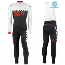2016 Scott RC White-Black-Red Thermal Long Cycling Long Sleeve Jersey And Bib Pants Set