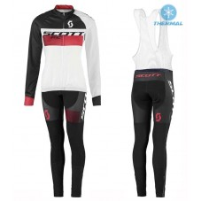 2016 Scott RC White-Black-Red Women Thermal Long Cycling Long Sleeve Jersey And Bib Pants Set