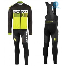 2016 Scott RC Black-White-Green Fluo Thermal Long Cycling Long Sleeve Jersey And Bib Pants Set