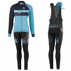 2016 Scott RC Black-Blue Women Thermal Long Cycling Long Sleeve Jersey And Bib Pants Set
