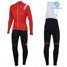 2016 Sportful JSW Red Thermal Long Cycling Long Sleeve Jersey And Bib Pants Set