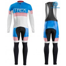 2016 Bontrager Trek Specter Vintage White-Blue Thermal Long Cycling Long Sleeve Jersey And Bib Pants Set