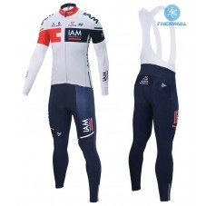 2016 Team IAM White Thermal Long Cycling Long Sleeve Jersey And Bib Pants Set