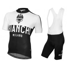 2016 Bianchi Milano Nalon White-Black Cycling Jersey And Bib Shorts Set