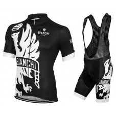 2016 Bianchi Milano Sorisole Black-White Cycling Jersey And Bib Shorts Set