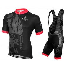2016 Bianchi Milano Sorisole Black-Red Cycling Jersey And Bib Shorts Set