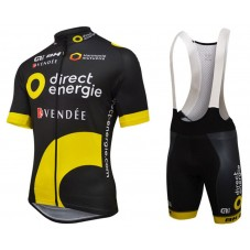 2016 Direct Energie Team Black Cycling Jersey And Bib Shorts Set
