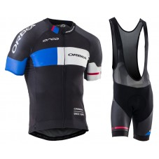 2016 Orbea Team Pro Black-Blue Cycling Jersey And Bib Shorts Set
