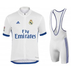 2017 Team Real Madrid White Cycling Jersey And Bib Shorts Set