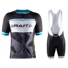 2016 Craft Classic Logo Black-White Cycling Jersey And Bib Shorts Set