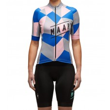 2016 Maap Cube Blue-Pink Women's Cycling Jersey And Bib Shorts Set