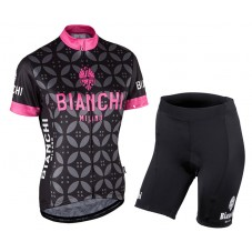2017 Bianchi Milano Malgina Black-Pink Women's Cycling Jersey And Shorts Set