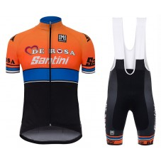 2017 De-Rosa Team Orange-Black Cycling Jersey And Bib Shorts Set