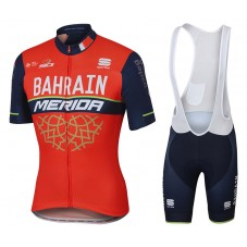 2017 Bahrain-Merida Red-Black Cycling Jersey And Bib Shorts Set