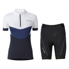 2017 Vaude Advanced II Women's White-Blue Cycling Jersey And Shorts Set