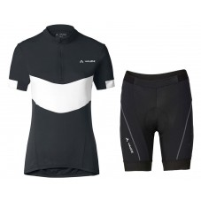 2017 Vaude Advanced II Women's Black-White Cycling Jersey And Shorts Set