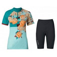 2017 Vaude Tomaly Flower Blue Cycling Jersey And Shorts Set