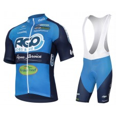 2017 AGO-AQUA Service Blue Cycling Jersey And Bib Shorts Set