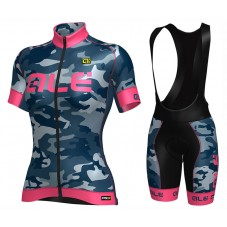 2017 Ale Graphics PRR Camo Women's Blue-Pink Cycling Jersey And Bib Shorts Set