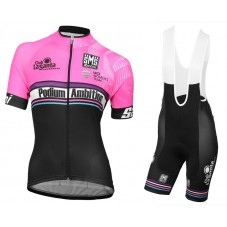 2016 Podium Ambition Pink Women's Cycling Jersey And Bib Shorts Set