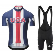 2017 Asos USA Team Blue Cycling Jersey And Bib Shorts Set