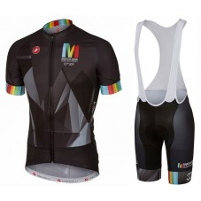 2017 Castelli Maratona Team Black Cycling Jersey And Bib Shorts Set