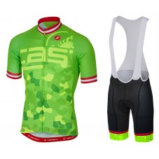 2017 Castelli Attacco Green Cycling Jersey And Bib Shorts Set