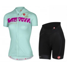 2017 Castelli Favolosa Women's Light Green Cycling Jersey And Shorts Set