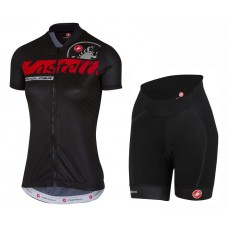 2017 Castelli Favolosa Women's Black Cycling Jersey And Shorts Set