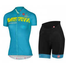 2017 Castelli Favolosa Women's Blue Cycling Jersey And Shorts Set