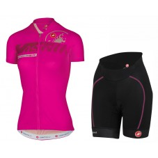 2017 Castelli Favolosa Women's Pink Cycling Jersey And Shorts Set