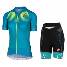 2017 Castelli Aero Race Women's Green Cycling Jersey And Shorts Set