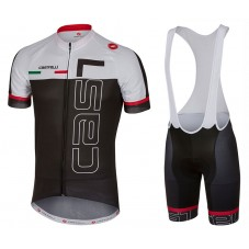 2017 Castelli Spunto White-Black Cycling Jersey And Bib Shorts Set