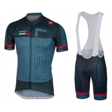 2017 Castelli Spunto Blue Cycling Jersey And Bib Shorts Set