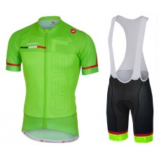 2017 Castelli Spunto Green Cycling Jersey And Bib Shorts Set