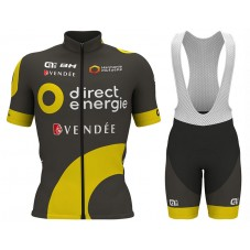 2017 Direct Energie Black-Yellow Cycling Jersey And Bib Shorts Set