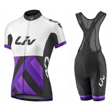 2017 Liv Race Day Women's White-Purple Cycling Jersey And Bib Shorts Set