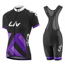 2017 Liv Race Day Women's Black-Purple Cycling Jersey And Bib Shorts Set