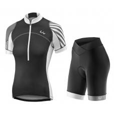 2017 Liv Pro Women's Black-White Cycling Jersey And Bib Shorts Set