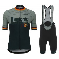 2017 Lombardia Black-Grey Cycling Jersey And Bib Shorts Set