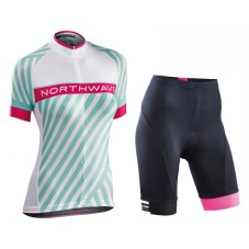 2017 Northwave Logo 3 Women's Green Cycling Jersey And Shorts Set
