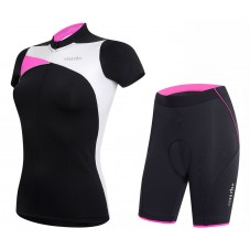 2017 Rh+ Trinity Women's Black-Pink Cycling Jersey And Shorts Set