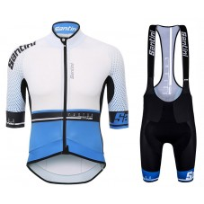 2017 Santini Photon 3.0 White-Blue Cycling Jersey And Bib Shorts Set