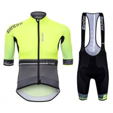 2017 Santini Photon 3.0 Yellow Cycling Jersey And Bib Shorts Set