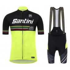 2017 Santini Beat 3.0 Yellow Cycling Jersey And Bib Shorts Set