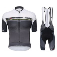 2017 Santini Sleek Plus 1.0 White-Black Cycling Jersey And Bib Shorts Set